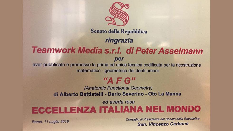 Η SENATE βραβεύει τον Peter Asselmann και την Teamwork Media Srl