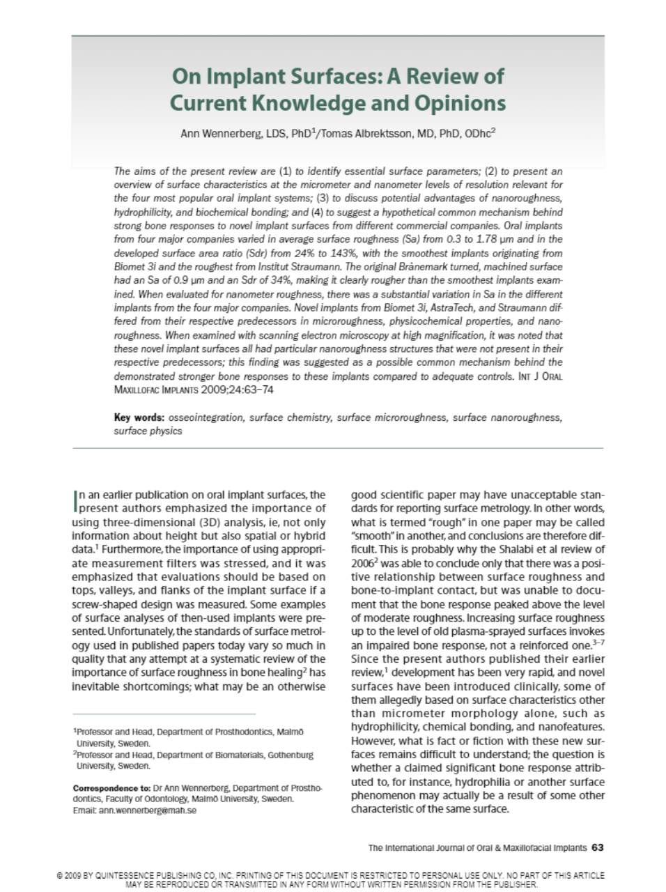 Int J Oral Maxillofac Implants 2010 Wennerberg